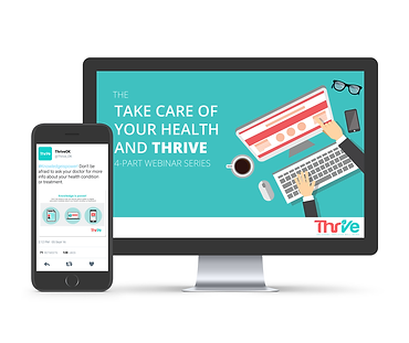 Image materials created for Thrive, including a webinar series and social media messages