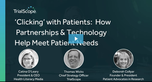 Clicking with Patients: How Partnerships and Technology Help Meet Patient Needs. Photographs of Catina O'Leary, Thomas Wicks, and Deborah Collyar