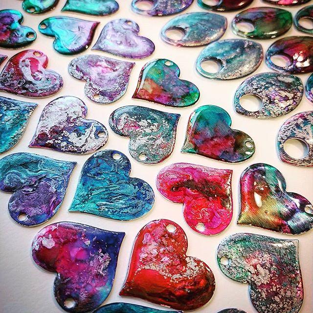 Hand painted aluminum hearts