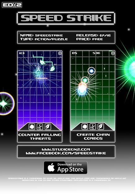 Ecran d'accueil du jeu Speed Strike lançé en 2016 sur Apple Store