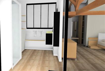 Vue 3D verrière salle de bains