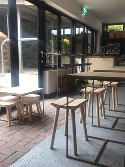 CAFE INTERIOR BOX FRAME WOODEN TABLES