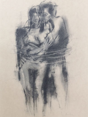 8  Loving Couple (charcoal, paper), Priv