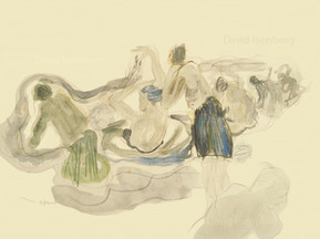 Travel Sketch - pilgrims bathing, Varanasi, India