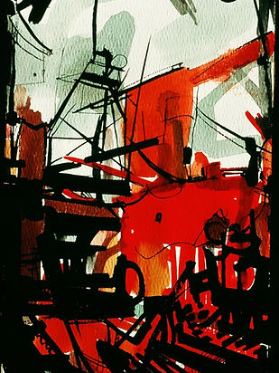 15 The Boat Going Out (gouache, paper),