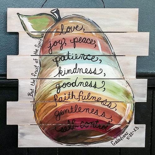 """Fruit of the Spirit"" 18 x18 shiplap sign"