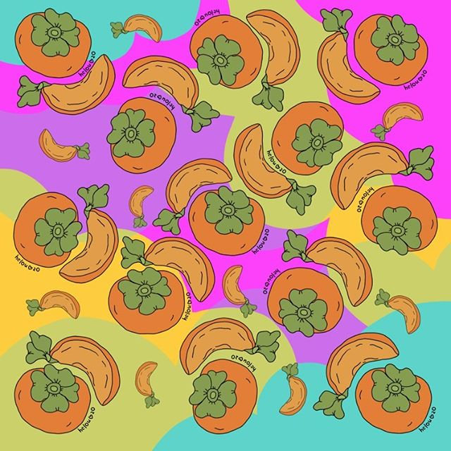 persimmons on retro background