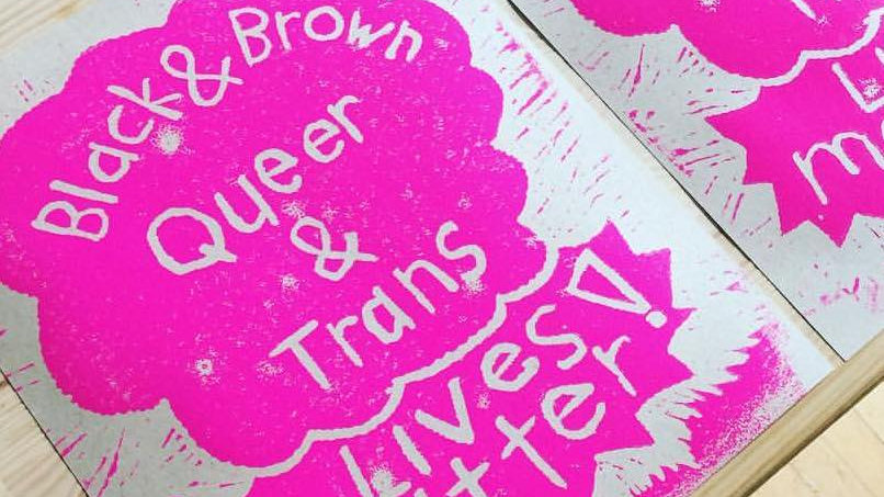 "black, brown, queer, and trans lives matter block print (various colors- 9x12"")"