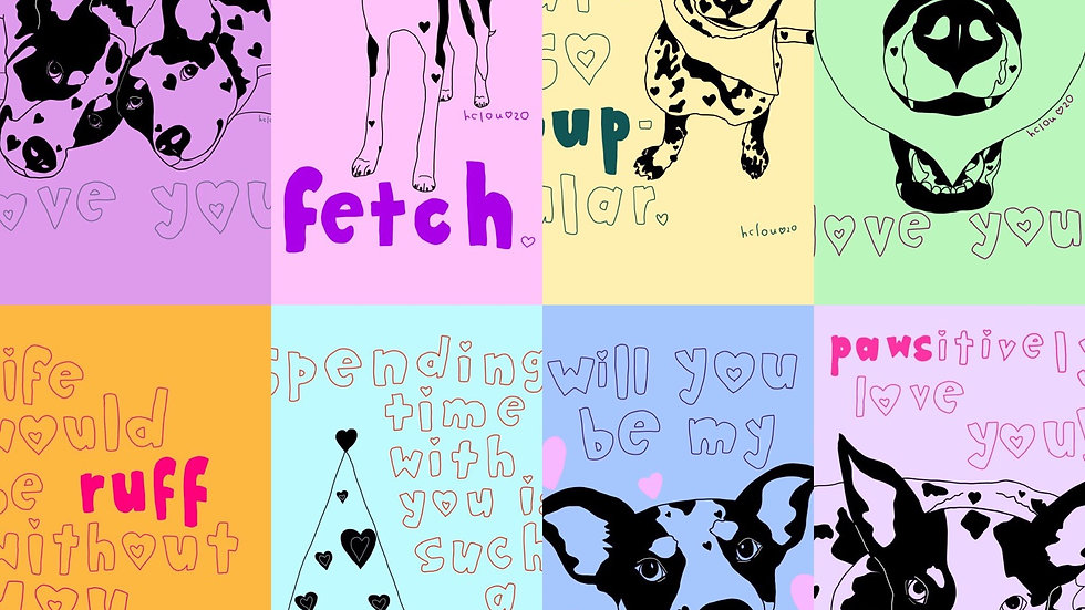 """dog valentine's day cards (pack of 9 5x7"""" cards)."""