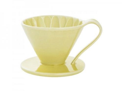 有田焼円すいフラワードリッパー(イエロー) cup1 1杯用 同色のメジャースプーン付き
