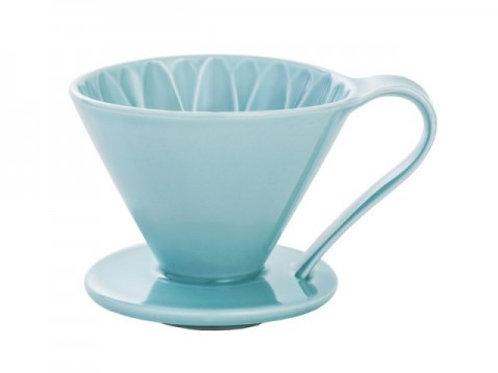 有田焼円すいフラワードリッパー(ブルー) cup4 2~4杯用 同色のメジャースプーン付き