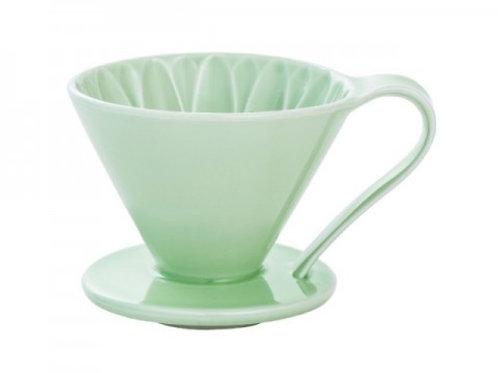 有田焼円すいフラワードリッパー(グリーン) cup4 2~4杯用 同色のメジャースプーン付き
