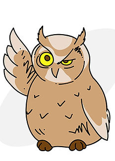 A wise owl standing and winking, with one wing down, one wing upward making a point.