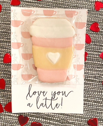 """Love you a latte"" Valentine's Cookies"
