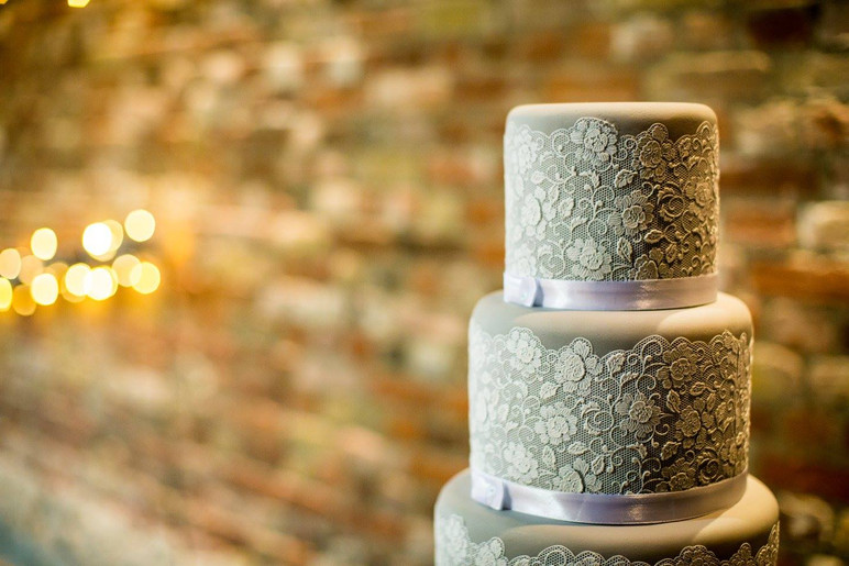Grey and Lace Wedding Cake