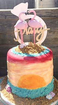 """""""Finally"""" Flamingo Engagement Cake"""