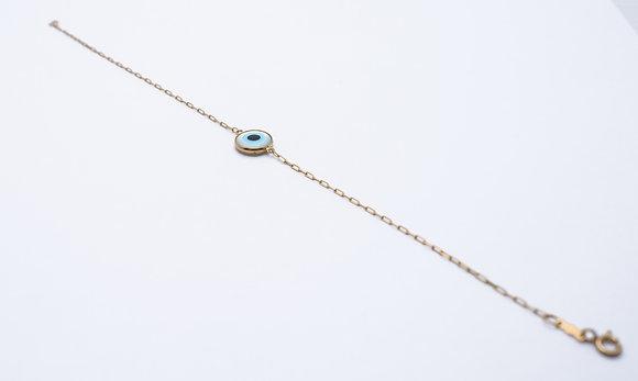 Pulseira Olho Grego ouro amarelo 18 k e madrepérola de olho grego