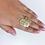 Thumbnail: Anel coração em ouro amarelo 18k e diamantes de 1 ponto cada
