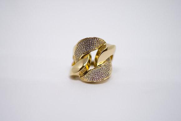 Anel elos grandes ouro amarelo 18k com 182 diamantes, prazo de entrega  20 dias