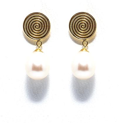 Brinco Espiral e pérola Ouro amarelo 18k acabamento polido e pérola Biwa
