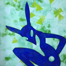 Kleiner blauer Alien