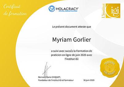 Certificat de praticienne en holacracy j