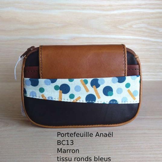 Anaël BC13 marron tissu ronds bleuspdf.j