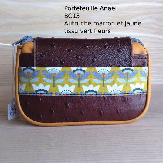 Anaël BC13 Autruche marron et jaune tiss