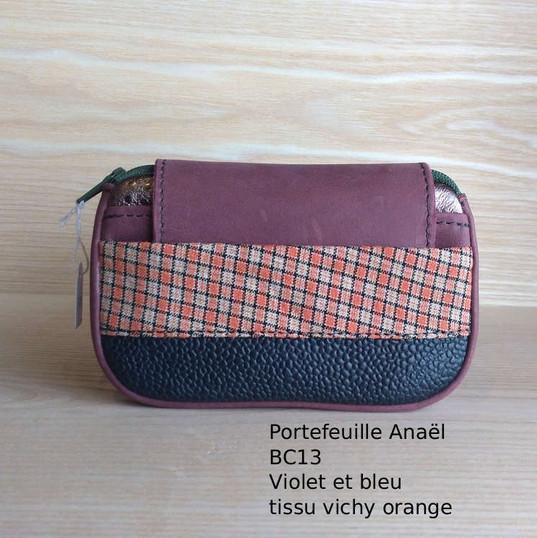 Portefeuilles Anaël BC13 - cuir et tissu, avec deux poches et  fermeture éclair
