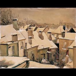 Ausblick aus dem Fenster der Rue Archimède im Winter - 1940