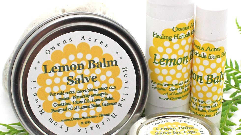 Lemon Balm Salve and Lip Balms for Cold Sores and Dry Lips