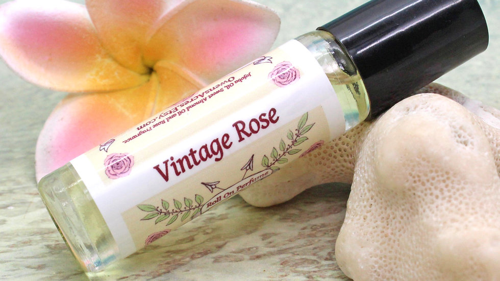 VINTAGE ROSE Roll On Perfume / Roll On Oil / Aromatherapy Gift / Moisturizer / R