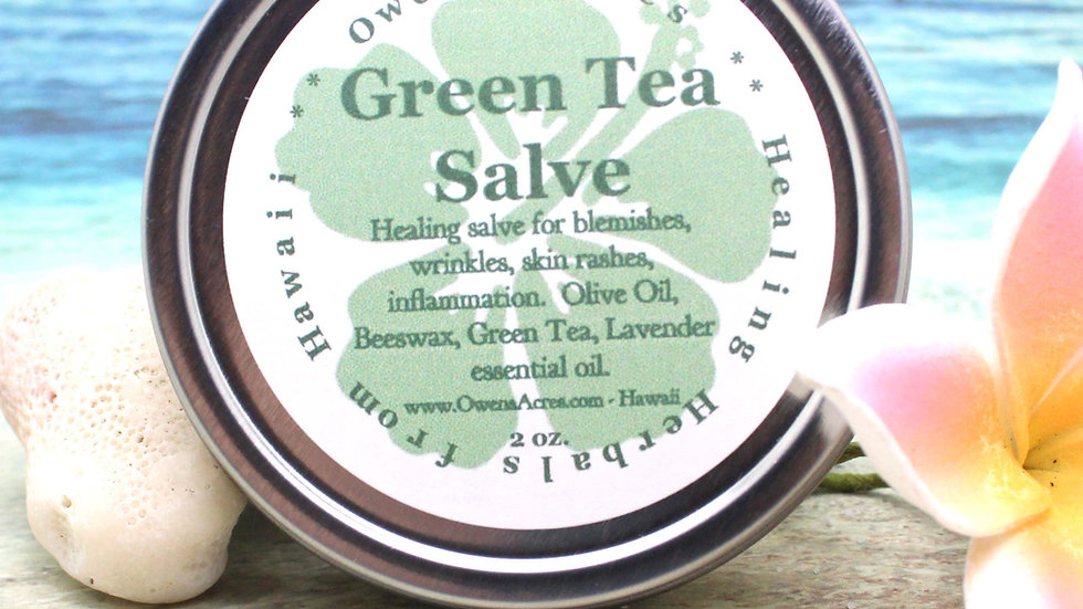 GREEN TEA Salve / Herbal Salve for Wrinkles, Blemishes, Aging / Antioxidant