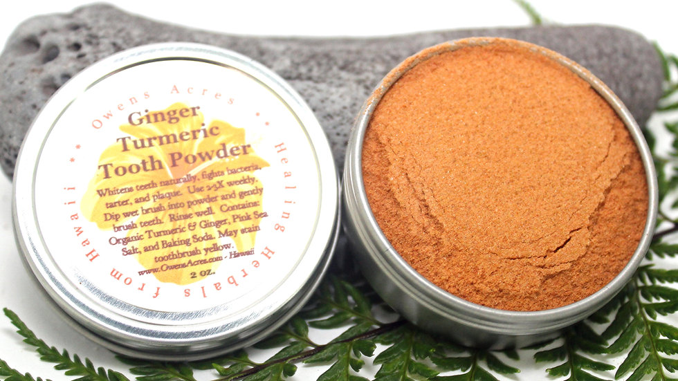 All Natural Ginger Turmeric Tooth Powder for Whiter Teeth