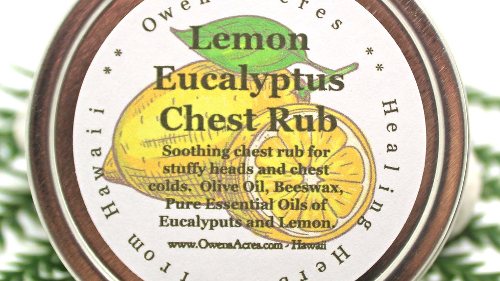 All Natural Eucalyptus and Lemon Chest Rub for Colds and Respiratory Issues