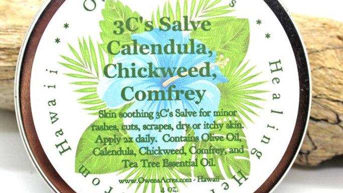 3C's Salve - Skin healing Calendula, Chickweed, and Comfrey