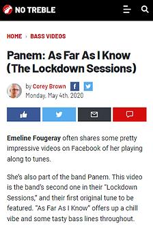 Panem Emeline Fougeray As Far As I Know review No Treble Corey Brown