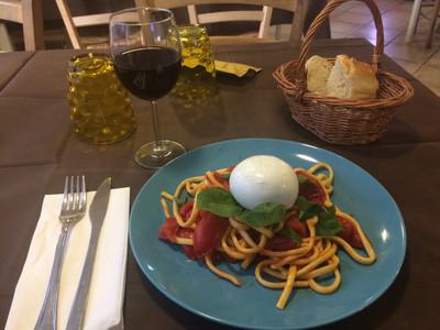 Naples pasta with tomatoes, basil and Bufalo mozzarella