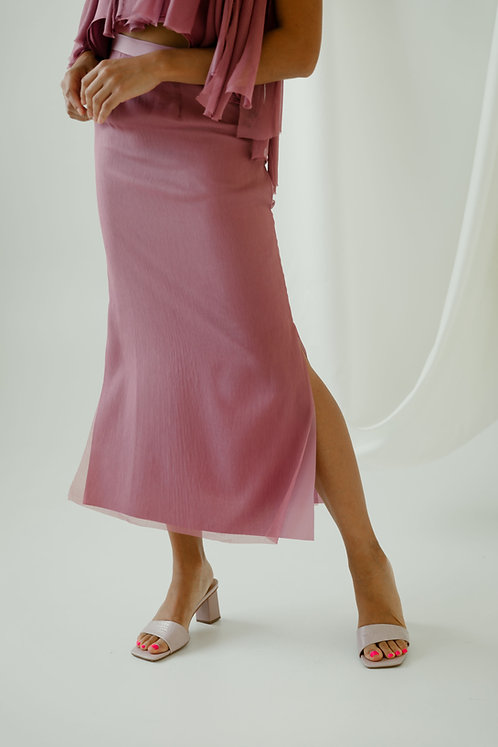 Front view of the rose colored Antionette midi skirt with modest side slits.