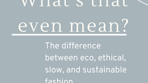 """What's That Even Mean?"": The Difference Between Eco, Ethical, Sustainable, and Slow Fashion."