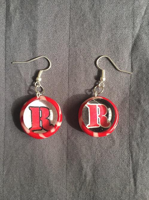 """ROCKET Red """"R"""" Red & White Swirl Earrings"""