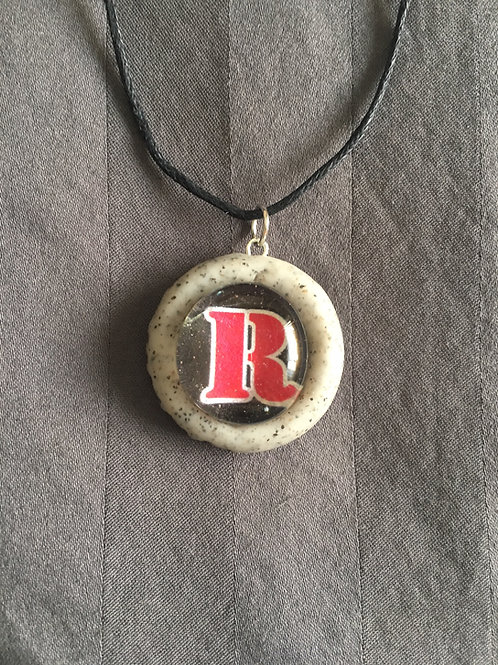 """ROCKET RED """"R"""" Gray Stone Necklace"""
