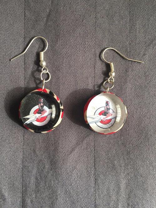 ROCKET Space Girl Logo Peppermint Swirl Earrings