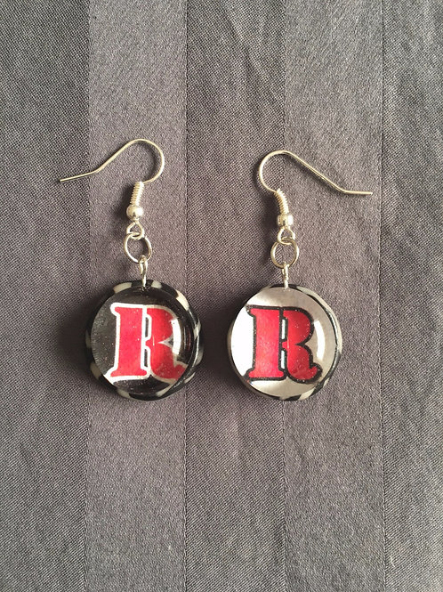 "ROCKET Red ""R"" Black & White Swirl Earrings"