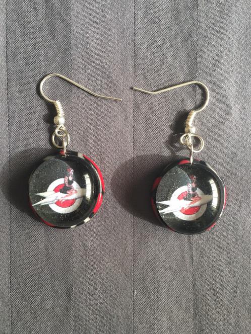 rocket space girl logo red swirl earrings