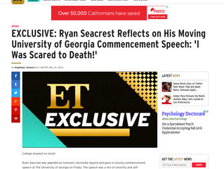 ETonline EXCLUSIVE: Ryan Seacrest Reflects on His Moving University of Georgia Commencement Speech: