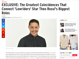 ETonline EXCLUSIVE: The Greatest Coincidences That Connect 'Lowriders' Star Theo Rossi's