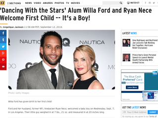 ETonline: 'Dancing With the Stars' Alum Willa Ford and Ryan Nece Welcome First Child -- It&#
