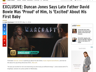 ETonline EXCLUSIVE: Duncan Jones Says Late Father David Bowie Was 'Proud' of Him, Is 'Ex