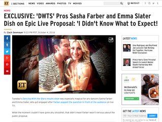 ETonline EXCLUSIVE: 'DWTS' Pros Sasha Farber and Emma Slater Dish on Epic Live Proposal: &#3